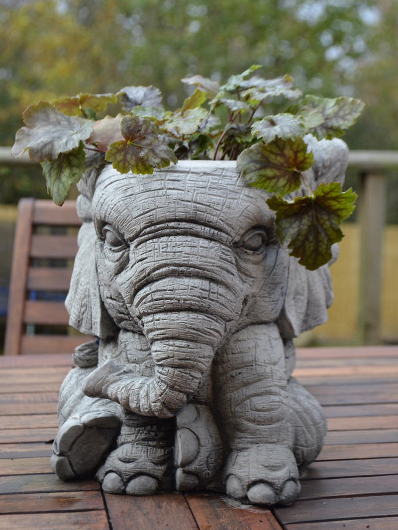 elephant pot hand cast stone garden ornament flower. Black Bedroom Furniture Sets. Home Design Ideas