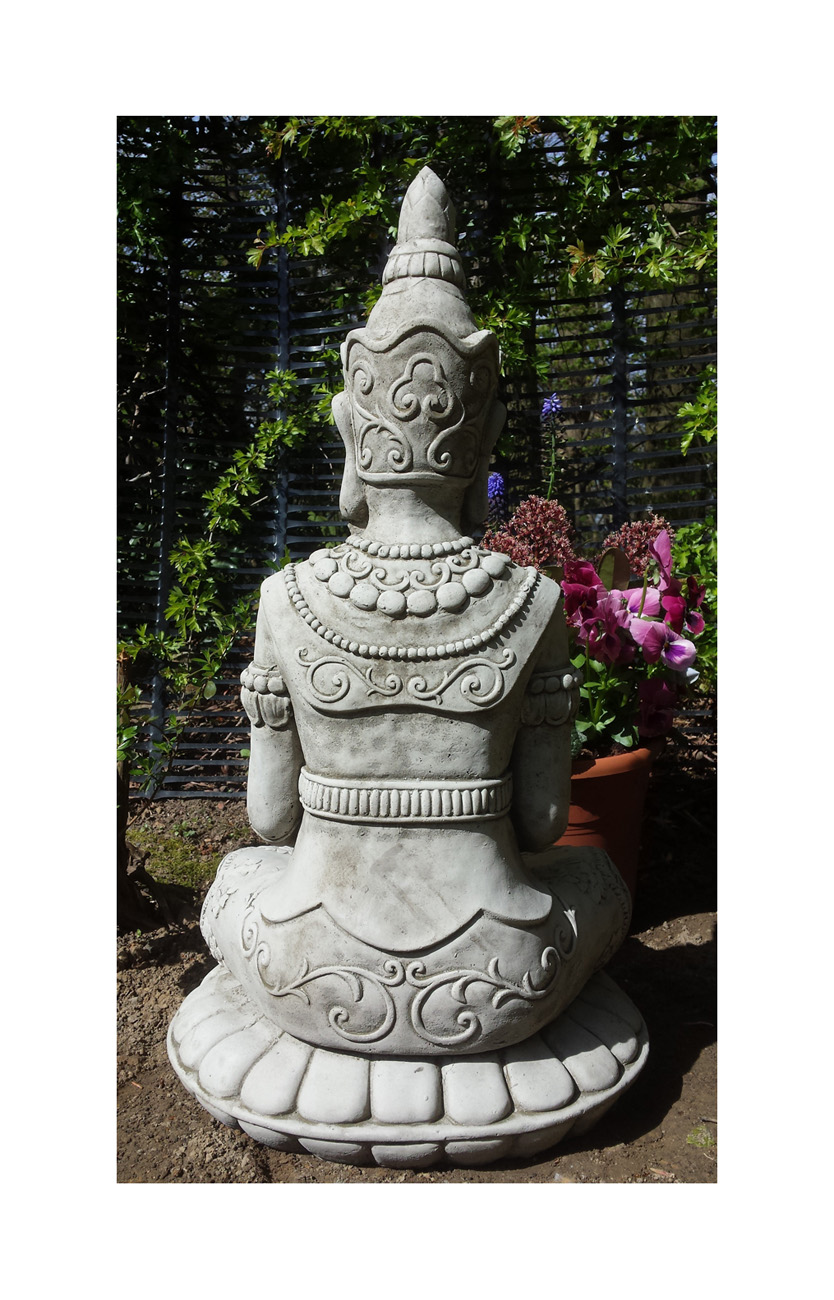 lotus buddha budda handcast stone garden ornament statue. Black Bedroom Furniture Sets. Home Design Ideas
