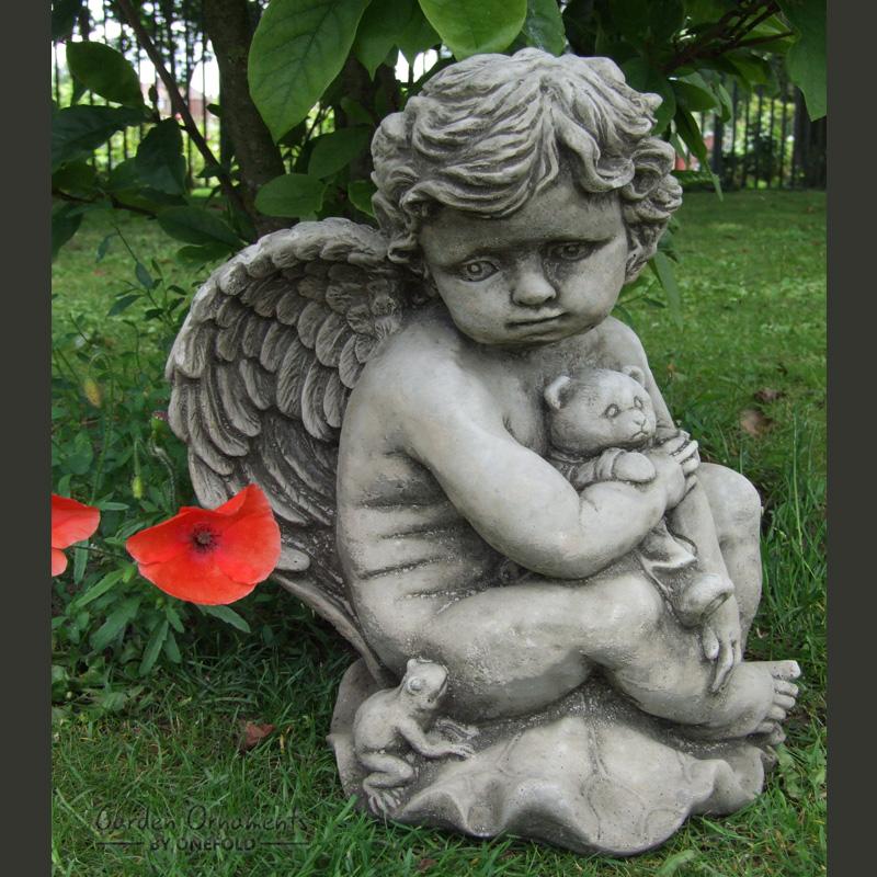 Teddy cherub hand cast stone garden ornament statue grave memorial onefold uk ebay - Angel statue for garden ...
