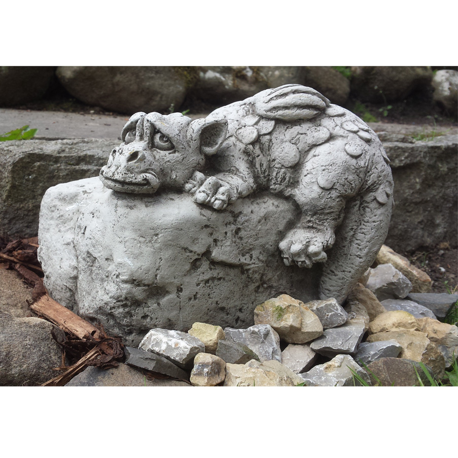 Stone For The Garden: DRAGON ON ROCK Realistic Bespoke Handcast Stone Garden
