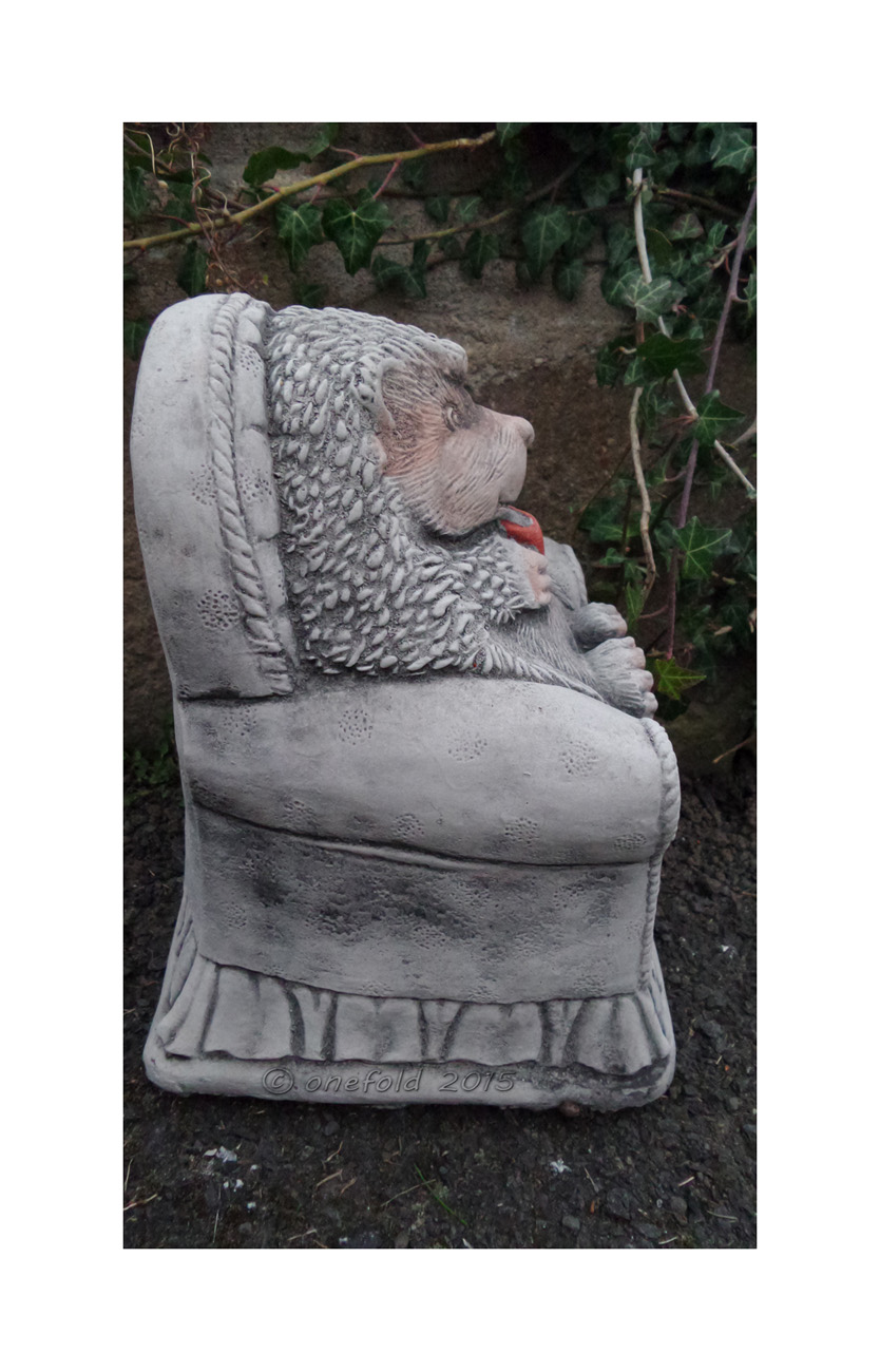 Hedgehog In Chair Hand Cast Stone Animal Garden Ornament