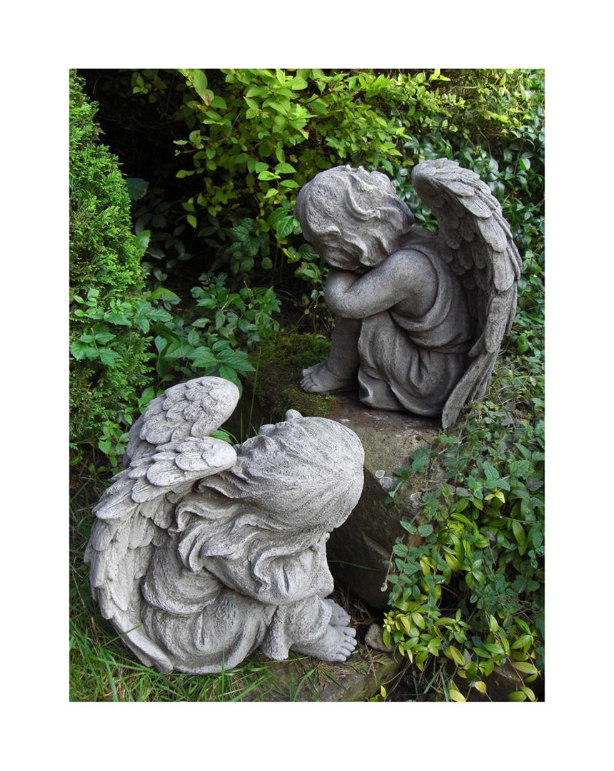 Resting Angels Pair Hand Cast Stone Garden Ornament Angel