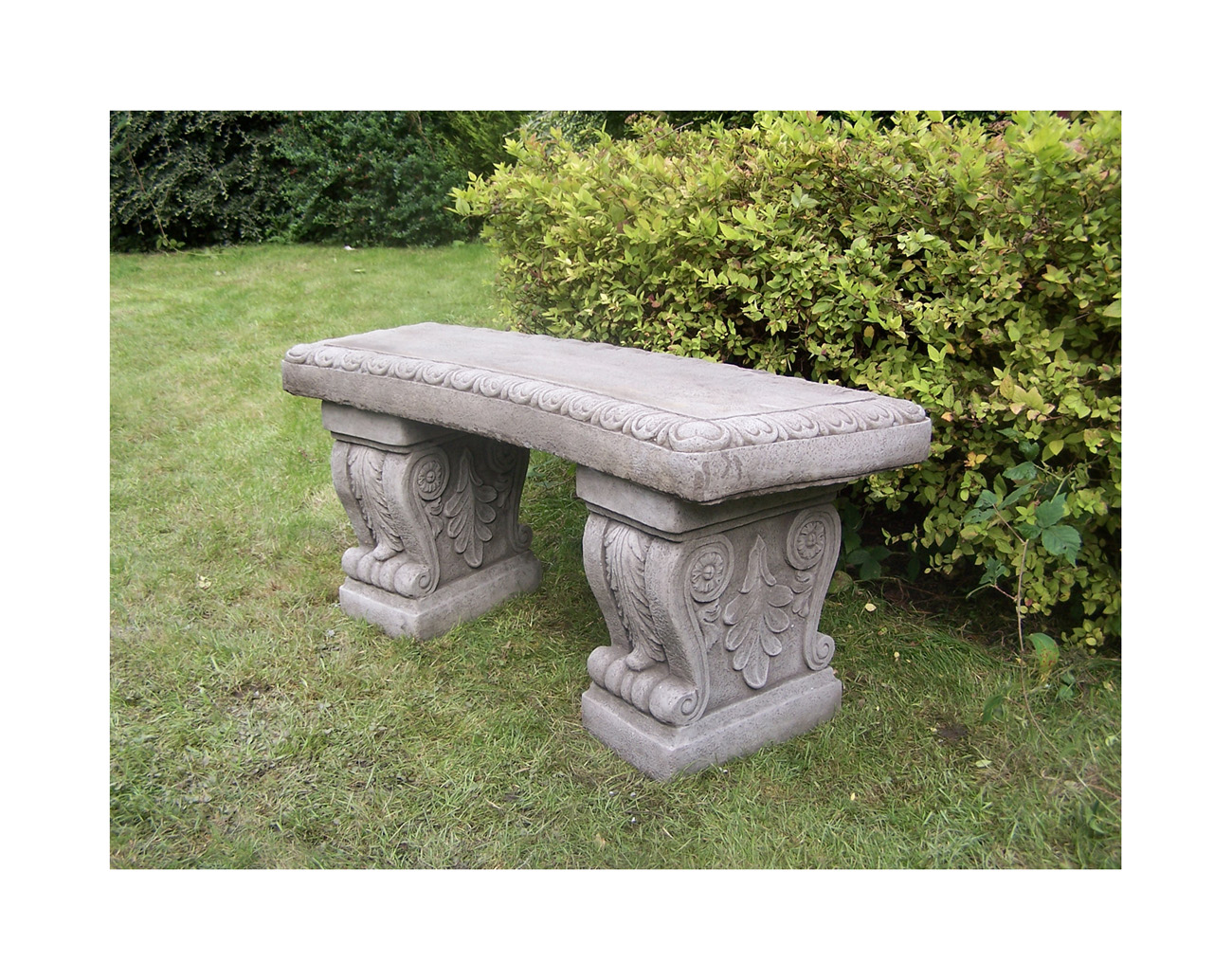Large cast stone garden bench bespoke garden ornament concrete onefold uk ebay Stone garden bench