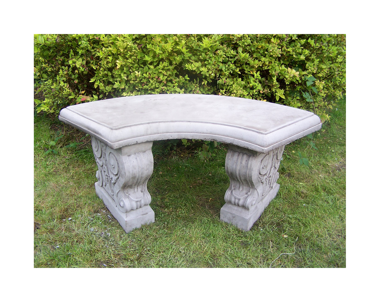 large curved garden bench hand cast stone garden ornament. Black Bedroom Furniture Sets. Home Design Ideas