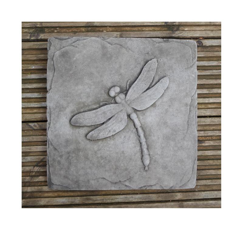 Dragonfly garden wall plaque hand cast stone garden ornament
