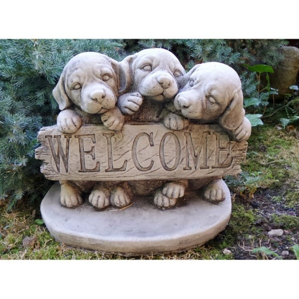 Welcome dog garden ornament onefold uk