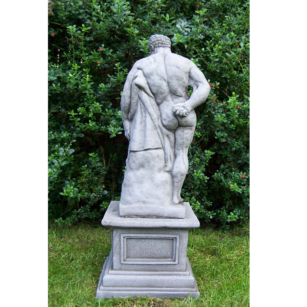 Old Garden Statue: LARGE ANTIQUE HERCULES And PLINTH Cast Stone Garden
