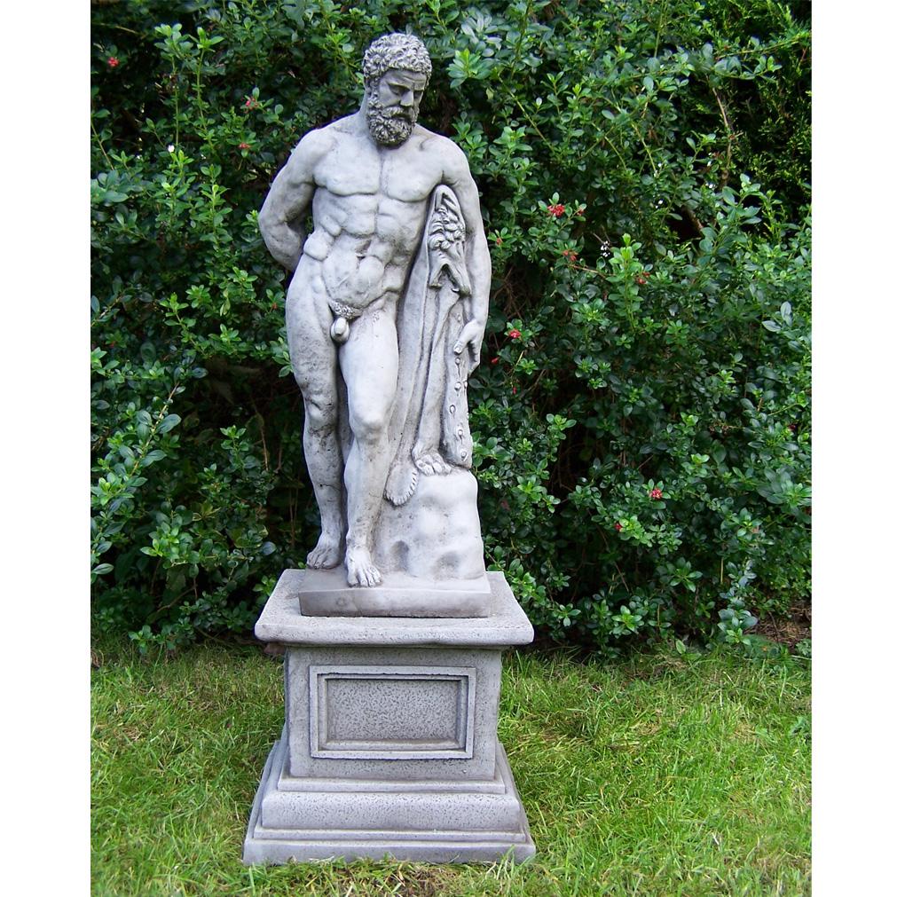 Large Antique Hercules And Plinth Cast Stone Garden