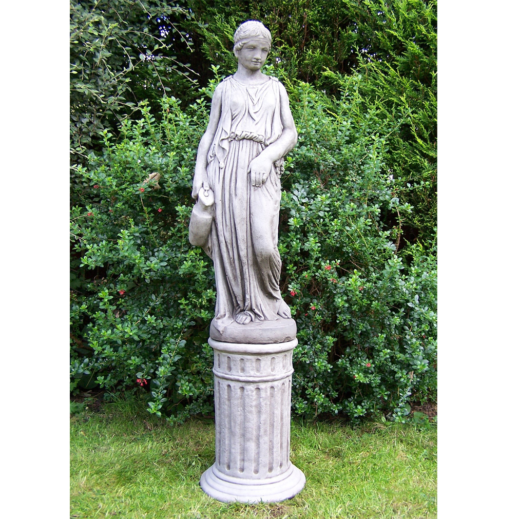Large jug gir on column hand cast stone garden ornament for Garden ornaments and accessories