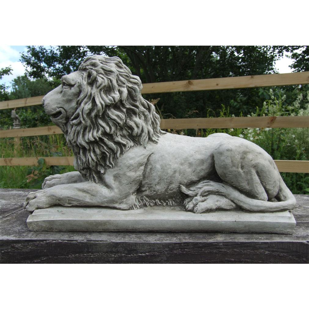 Lion Statue On Plinth Cast Stone Garden Ornament Patio