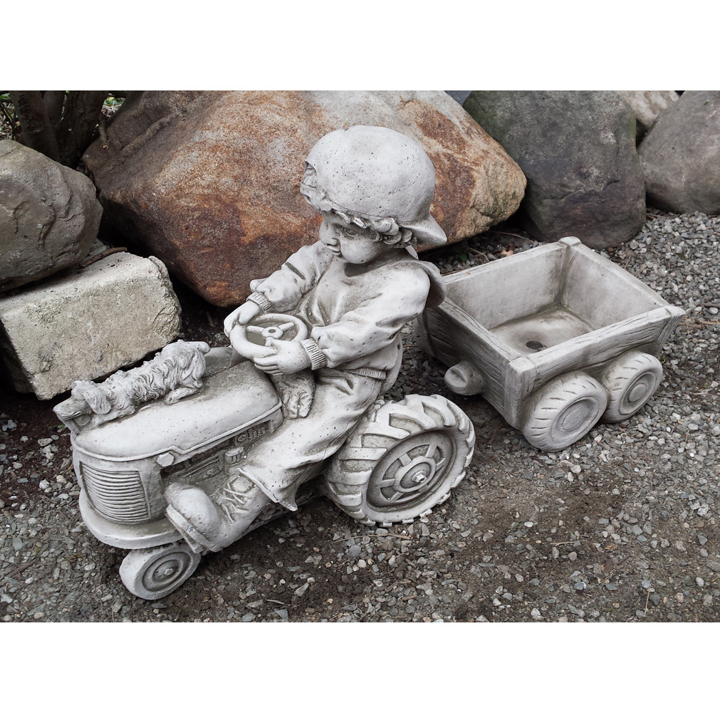 Boy On Tractor : Boy on tractor hand cast stone garden ornament flower pot