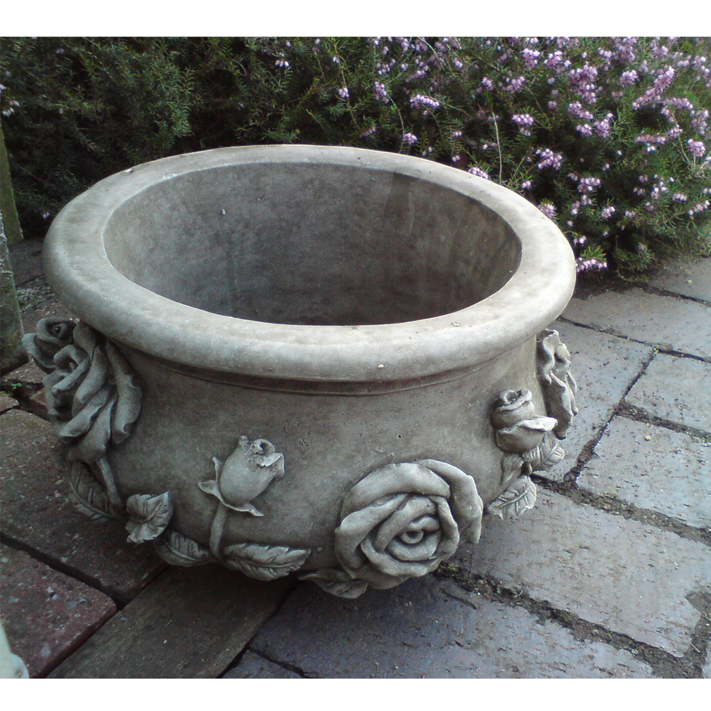 rose pot bespoke handcast stone garden ornament flower planter basket onefold uk ebay. Black Bedroom Furniture Sets. Home Design Ideas