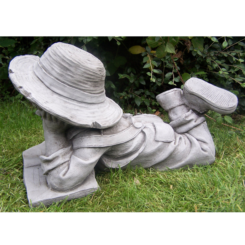 Granite Lawn Ornaments : Boy and girl with book hand cast stone garden ornament
