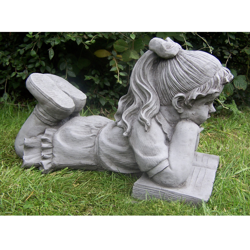 Large boy with book hand cast stone garden ornament statue for Decorative lawn ornaments