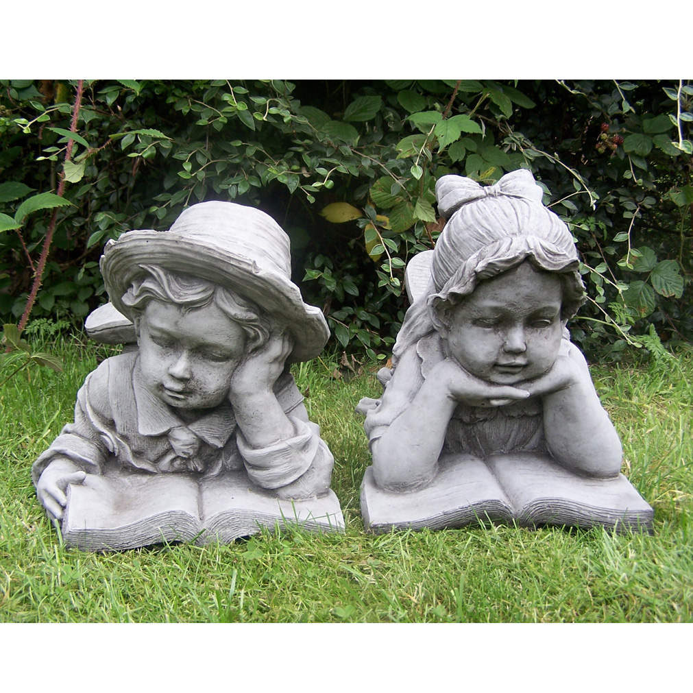 Delightful BOY AND GIRL WITH BOOK Hand Cast Stone Garden Ornament Statue Decor