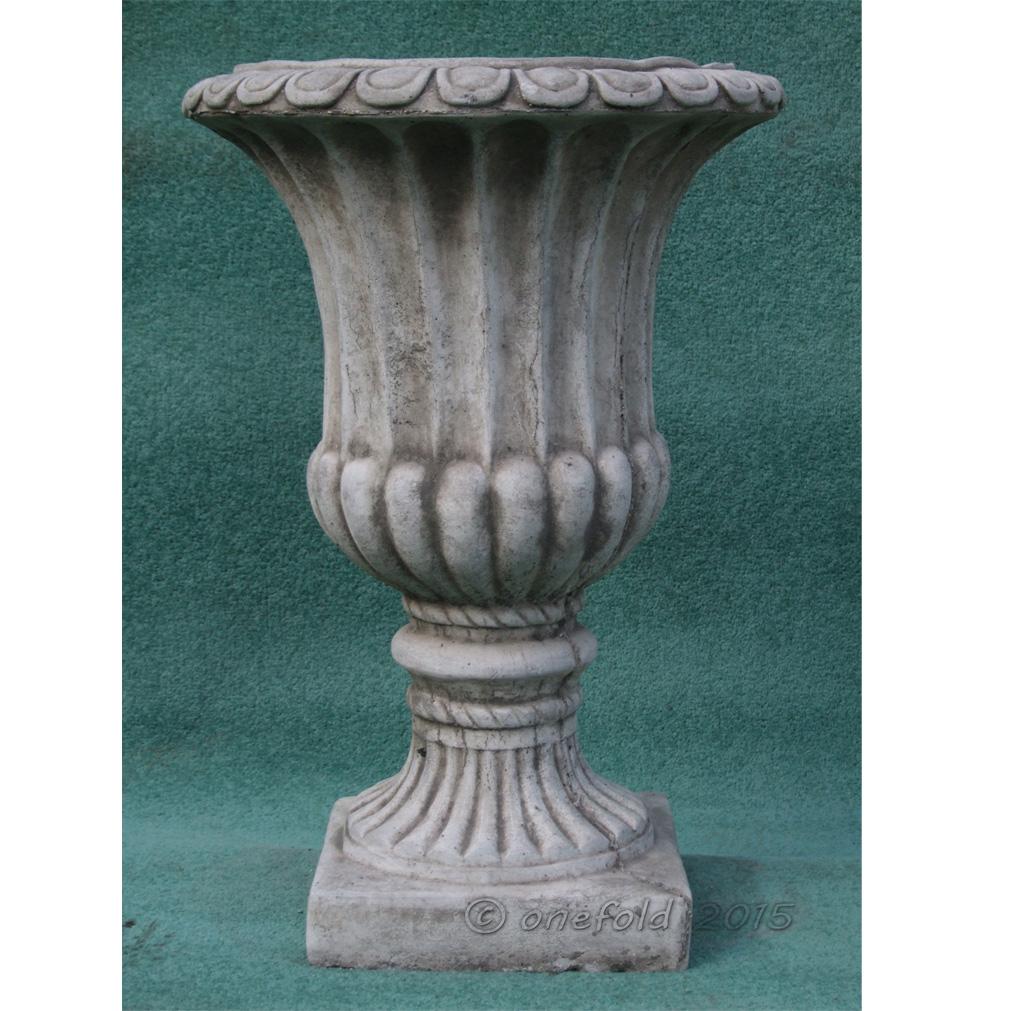 Large fluted vase urn hand cast stone garden ornament flower planter onefold uk ebay - Large decorative vases and urns ...