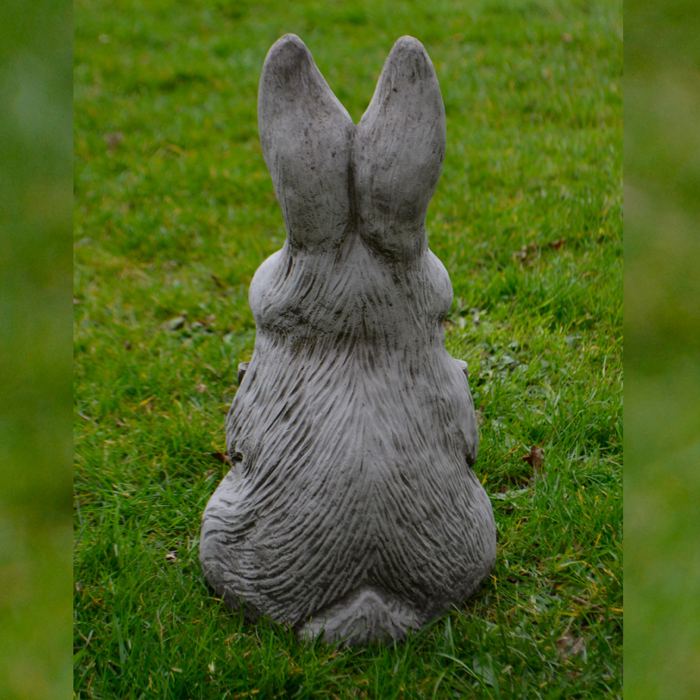 welcome bunny cast stone animal garden ornament patio sign. Black Bedroom Furniture Sets. Home Design Ideas