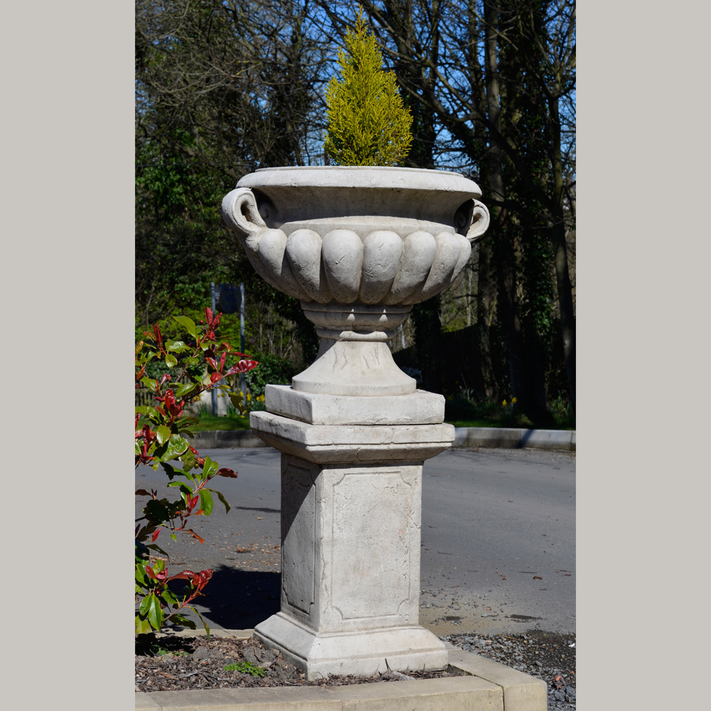 Large urn and plinth hand cast stone garden ornament for Flower garden ornaments
