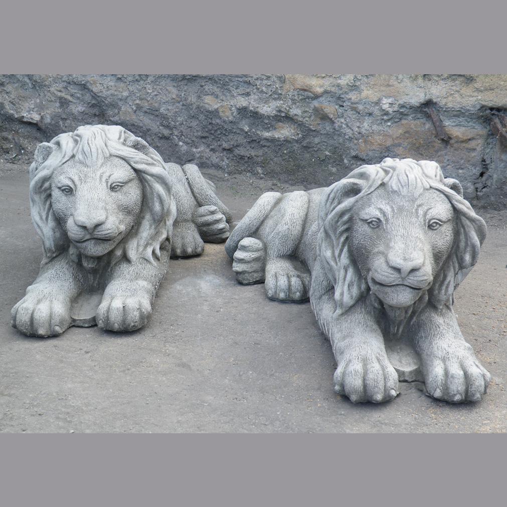 Large Lying Lions Statue Cast Stone Garden Ornament Patio