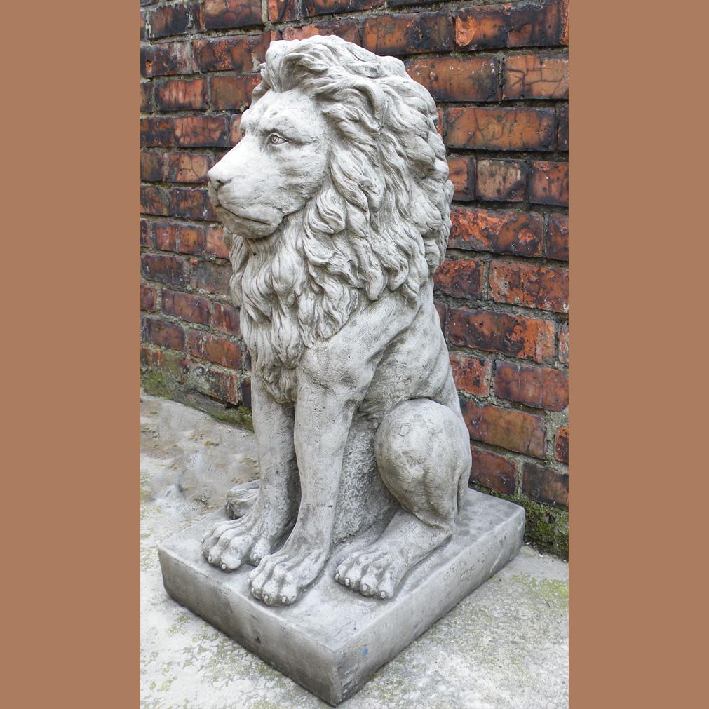 Large Proud Lion Statue Cast Stone Garden Ornament Patio