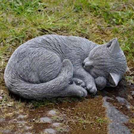 Sleeping Cat New Hand Cast Stone Garden Ornament Sculpture Memorial Onefold Uk Ebay