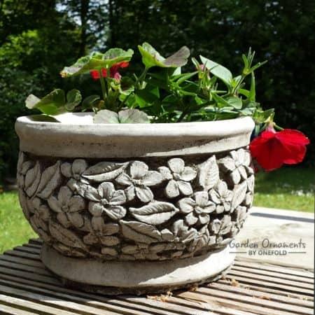 Flower pot garden ornament hand cast stone planter for Garden decking ornaments