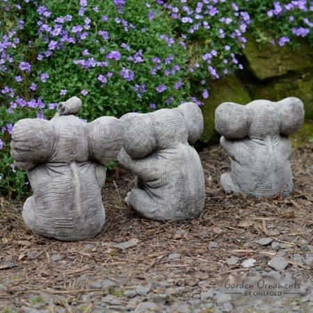 Beautiful WISE ELEPHANT Speak See Hear No Evil SET OF 3 Stone Garden  VE69