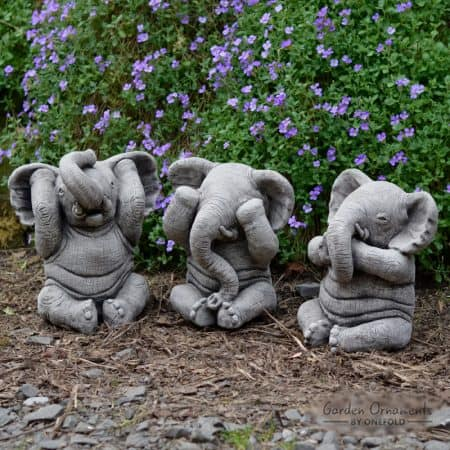 Well-liked WISE ELEPHANT Speak See Hear No Evil SET OF 3 Stone Garden  GU88