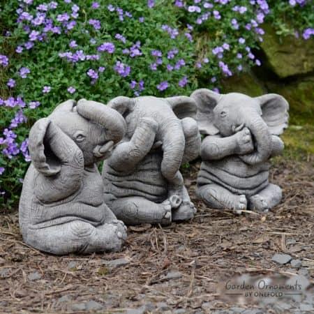 Fresh WISE ELEPHANT Speak See Hear No Evil SET OF 3 Stone Garden  BX49