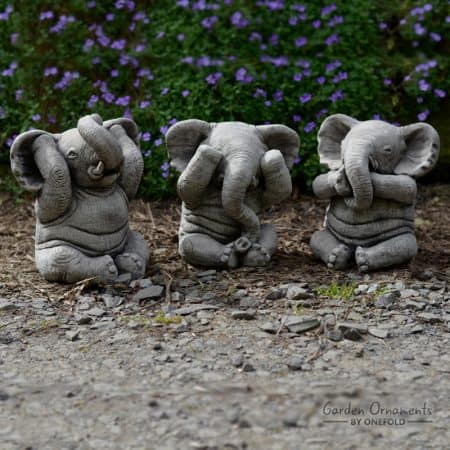 Wise Elephant Speak See Hear No Evil Set Of 3 Stone Garden Ornament